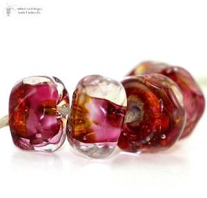 Fuchsia GOld Organic Beads