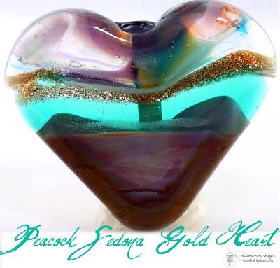 Peacock Sedona Heart Lampwork Bead by Beadsbot.com