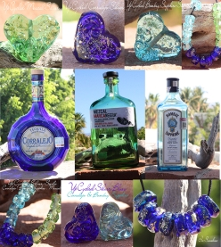 Upcycled glass lampwork Bottle Beads Recycle