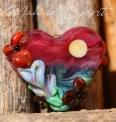 Mahalo Spirit lampwork Heart Bead Handmade
