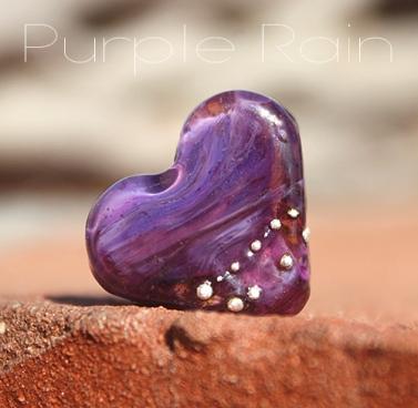Mini Heart glass lampwork bead Purple Rain