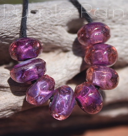 purple rain organic glass seed beads lampwork