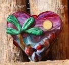 Summer Island Heart Bead Glass Lampwork handmade