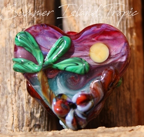 Summer Island Heart Bead Glass Lampwork handmade