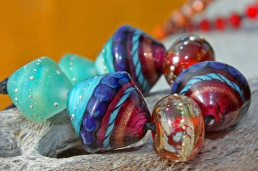 Glass Lampwork Beads with fine silver