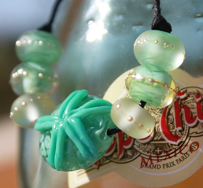 Sand Dollar ocean lampwork beads
